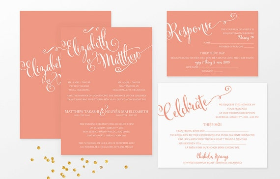 Sample Bilingual Vietnamese Wedding Invitation Set Script