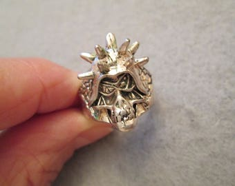 Silver Skull Face with Spiked Helmet Ring> Great Biker Ring> Various Sizes> Vintage, new old stock