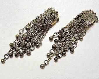 Vintage Chain Clip On Dangle Earrings