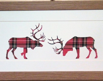 Scottish Art Rutting Stag Picture with Red Tartan Material