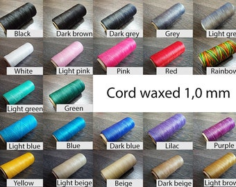 1 mm Flat cord thread - Thread shoemaker - Waxed flat thread shoemaker - Pre-waxed thread for leather - Waxed cord for sewing shoes - 100 m