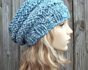 Peppermint Light Blue Knit Hat Blue Womens Hat - Original Beehive Beret - Blue Hat Blue Beret Blue Beanie Blue Winter Hat - READY TO SHIP
