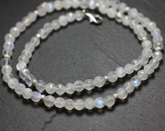 Necklace 925 sterling silver and stone - 5mm faceted Rainbow Moonstone
