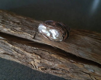 Pearl Ring/Handmade/Rustic/Sterling Silver/999 Silver and Copper/One Of A Kind/Metal Smith/Elegance&Rustic/Organic/ Primitive Jewelry