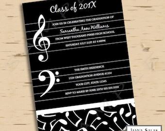 Music Theme Graduation Party Invitation 5x7 Grad  Invite INSTANT DOWNLOAD PDF You Edit MU01