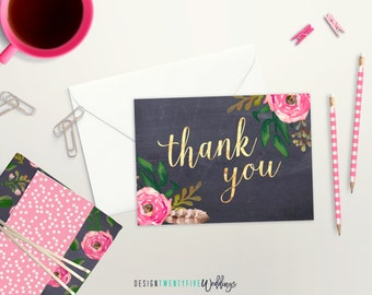 Succulent thank you card set handmade thank you cards thank thank you card set of 4 10 25 or 50 chalkboard floral m4hsunfo Choice Image