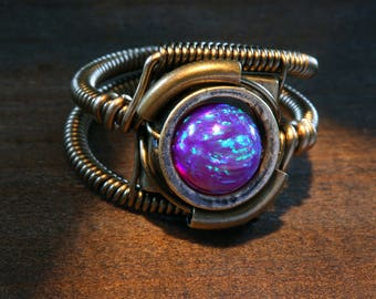 Steampunk Jewelry - Ring - Purple LAB created OPAL, Fire OpaL, Galaxy Opals