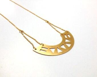 Gold geometric necklace,  triangle smi circle necklace, geometric necklace,  necklace, bib necklace, statement necklace