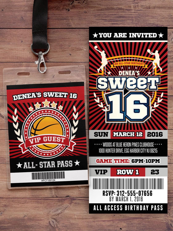 Basketball ticket Invitation // All Star Birthday // VIP pass ...