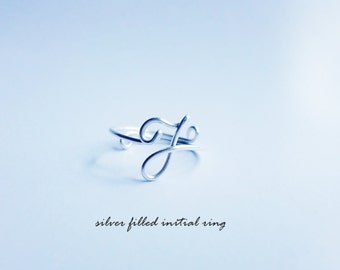 Sterling Silver Initial Ring / J Midi Ring / Silver Filled Mid rings , above knuckle rings , silver gold rose
