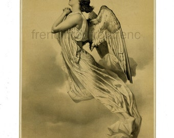 antique french victorian angel crying tear of repentance illustration digital download