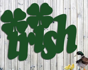 Irish Metal Wall Art With Four Leaf Clovers - Metal Wall Art - Large 23 x 17.5 Inches