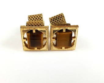 Vintage Square Gold Tone Amber Stone Center Mesh Wrap Cuff Links, Mid Century