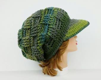 Crochet Newsboy Cap, Newsboy Hat, Visor Beanie Hat, Women's Hat With Brim, Sun Visor Hat, Visor Cap In Leafy, Slouchy Hats For Women