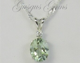 Prasiolite Necklace Sterling Silver 10x8mm 2.50ct With White Zircon Accent Green Amethyst Sterling Necklace