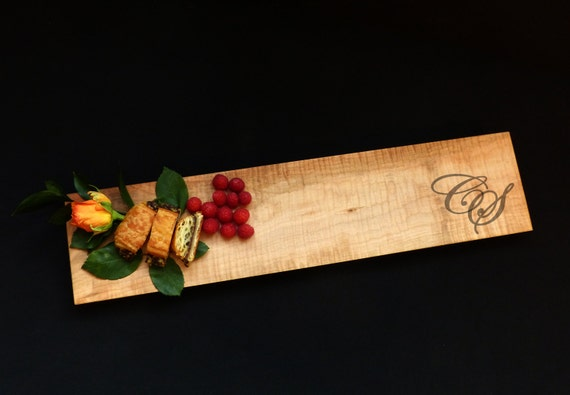 22x5 Maple Charcuterie Personalized Cutting Board Euro Edge w/Feet & Wood Butter