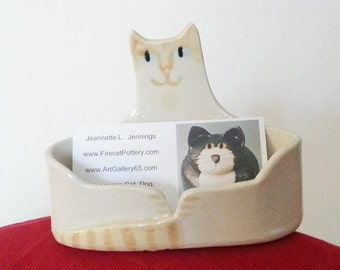 Cat Lover  Business card Holder flame point Siamese ceramic handmade unique kitty decor Ragdoll whimsical pet resort veterinary office