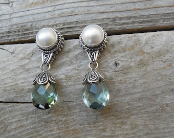 Pearl and green amethyst earring handmade in sterling silver