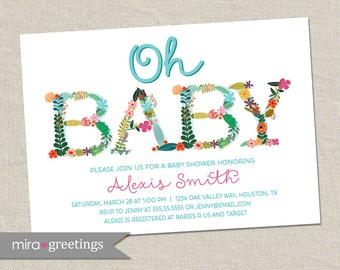 Oh Baby!  Floral Baby Baby Shower Invitation - Pastel Flower Pattern - baby girl shower invite (Printable Digital File)