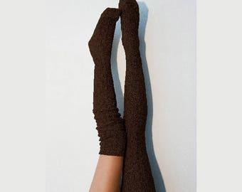 Thigh High Socks, Brown Sweater Socks, Women's Long Over the Knee Socks, Knitted Boot Socks, OTK Thigh Highs, Stockings, PM-088BR