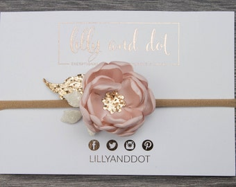 Small Blush Pink Rose Gold Glitter Flower Headband