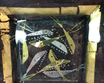 Margaret Johnson Fused glass dish with gold and silver fish