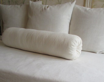 8 x 36 inch bolster pillow in ivory cotton duck