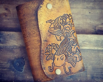 Leather Journal - Hand Tooled - Koi Fish - Refillable