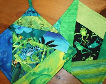 Frogs Green and Blue Potholders Set of 2