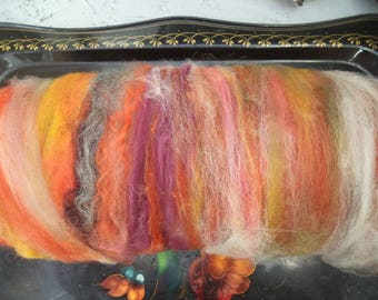 Tablecloth soft carded fibers / art batts/spinning or felting/fibers for spinning/120 g/autumn Sonata
