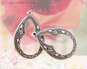 Ornate Bohemian Antiqued Silver Ox Flower Floral Embossed Teardrop Hoop Earring Dangles Drops - 4