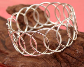 Connected Circles Sterling Silver Bangle