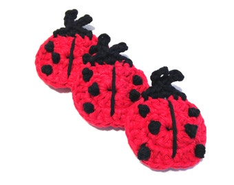Itty Bitty Red And Black Ladybug Crocheted Make-Up Removers-Trio