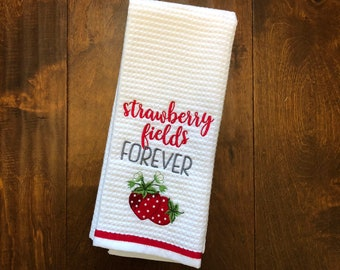 Strawberry Fields Forever // Embroidered Strawberry Kitchen Towel