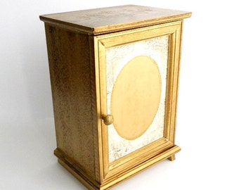 "Vintage Florentine Jewelry Chest Box - Gold Gilt - Carved Detail - Trinket Box - Keepsake Storage - 10"" High - Signed JAPAN"