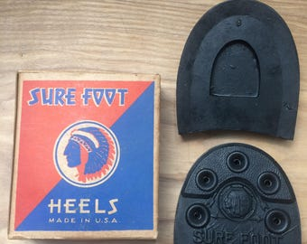 Sure Foot Rubber Heels *Mint / Boxed* Size 10-11 + Nails Vintage 50's