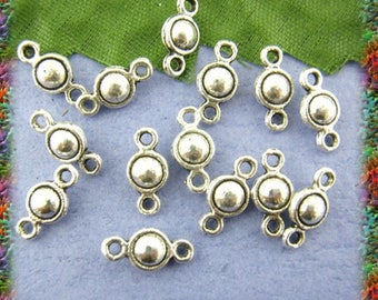 40 small connectors antiqued silver ball