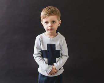 Gray kids t-shirt long sleeves/ T-shirt cross/ Kids cotton t-shirt/ Long sleeve toddler/ Kids t shirt design/ Long sleeve kids