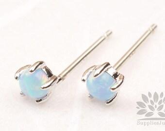 E318-BL-S / / encadré argent 3mm bleu opale argent Post boucle d'oreille, 1 paire
