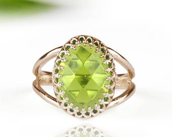 MOTHER'S DAY SALE - Peridot ring,birthstone ring,rose gold ring,pink gold ring,green ring,precious stone ring,oval ring,custom ring