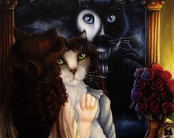 Cat Phantom in the Dressing Room Mirror, Christine Daae, 11x14 Fine Art Print