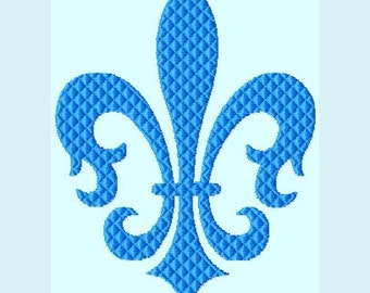 Blue Fleur De Lis Embroidery Designs INSTANT DOWNLOAD