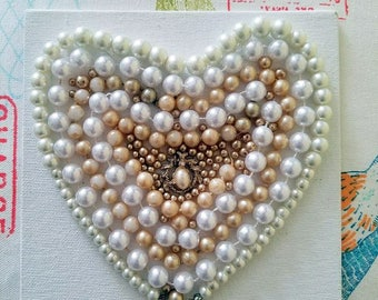 Vintage Pearl Heart Canvas