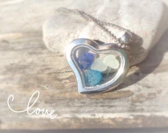 Sea Glass Pendant Necklace Turquoise, Cobalt Blue, Clear Sea Glass Memory Locket Pendant Necklace Jewelry Jewellery Beach Theme Wedding