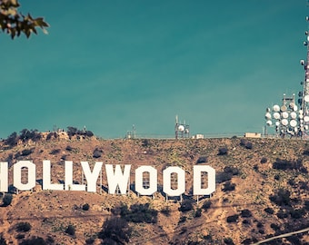 Los Angeles Hollywood sign canvas art print/personalized home decor/oversized art/large wall art canvas/blue green 16x30 california