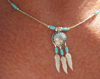 Turquoise Concho Sterling Silver Feathers on a Liquid Sterling Necklace