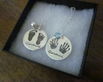 Silver Footprint or Hand Print Pendant with Freshwater Pearl or Swarovski Birthstone charm - Use YOUR childs handprints or footprints