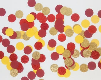 Belle inspired Party Confetti - Beauty and The Beast Confetti - Beauty & The Beast Decorations - Red, Yellow and Gold Party Circle Confetti