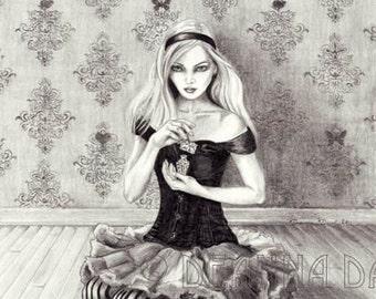 Alice In Wonderland Art Print Fairy Tale Art Alice Art Drink Me Fantasy Art Gothic Art Wall Art 8x10