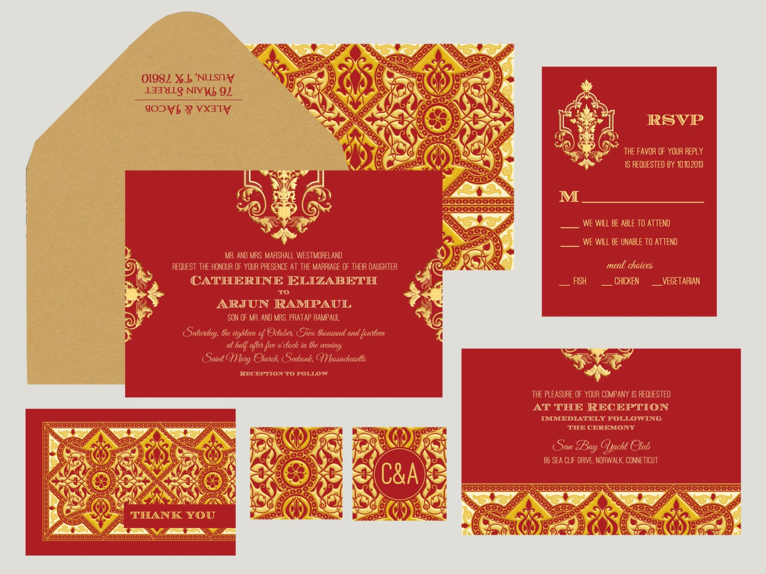 Moroccon Collection Indian Wedding Invitation: Hot Pepper
